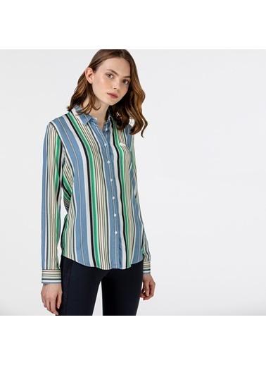 Lacoste Kadın Çizgili Gömlek CF0125.25M Mavi